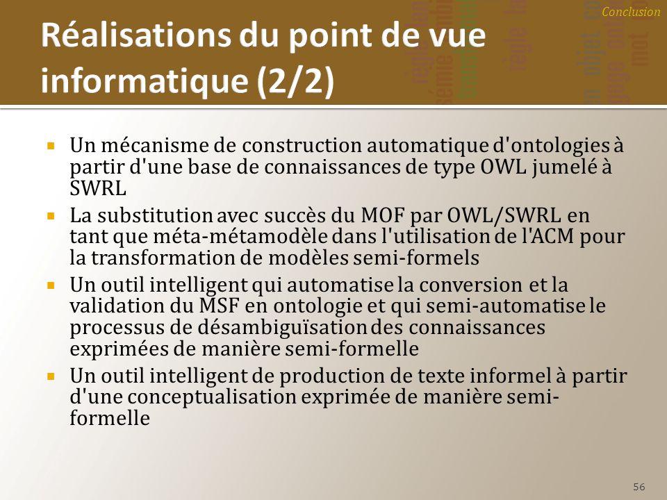 Un mécanisme de construction automatique d'ontologies à partir d'une base de connaissances de type OWL jumelé à SWRL La substitution avec succès du MO