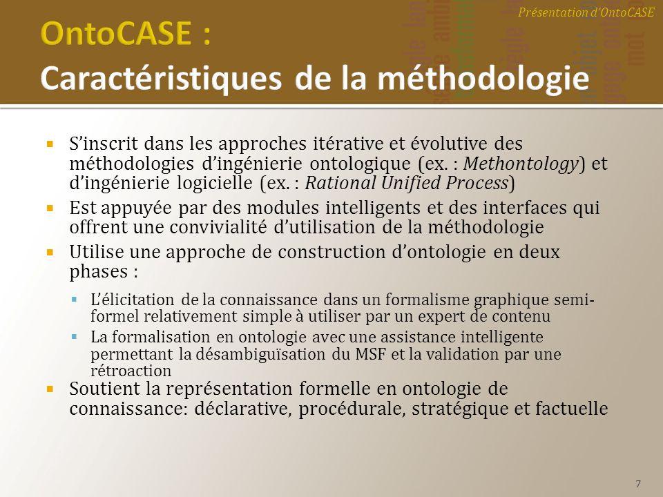 Sinscrit dans les approches itérative et évolutive des méthodologies dingénierie ontologique (ex. : Methontology) et dingénierie logicielle (ex. : Rat