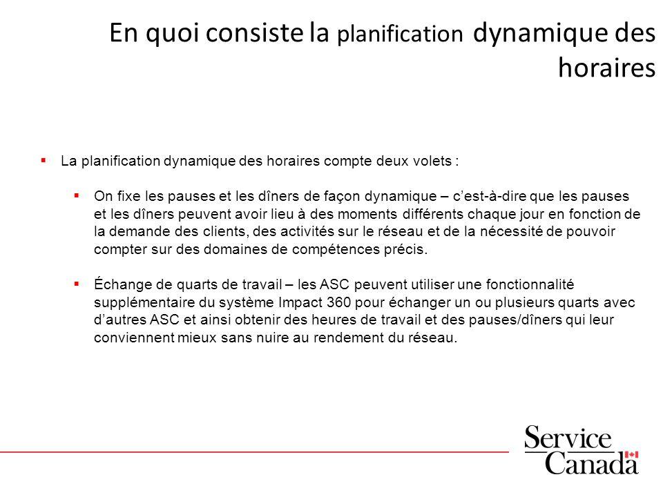 Progrès réalisés jusquà présent La planification dynamique des pauses, des dîners et des échanges de quarts de travail a commencé au CSE en septembre 2012.