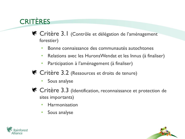 CRITÈRES Critère 3.1 (Contrôle et délégation de laménagement forestier) Bonne connaissance des communautés autochtones Relations avec les HuronsWendat et les Innus (à finaliser) Participation à laménagement (à finaliser) Critère 3.2 (Ressources et droits de tenure) Sous analyse Critère 3.3 (Identification, reconnaissance et protection de sites importants) Harmonisation Sous analyse