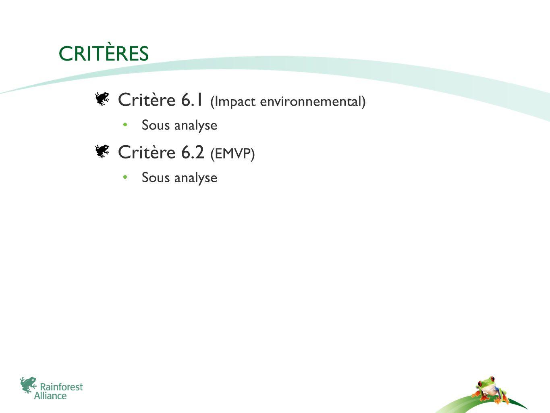 CRITÈRES Critère 6.1 (Impact environnemental) Sous analyse Critère 6.2 (EMVP) Sous analyse