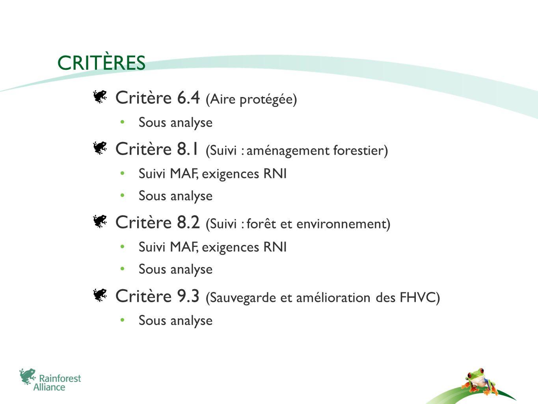 CRITÈRES Critère 6.4 (Aire protégée) Sous analyse Critère 8.1 (Suivi : aménagement forestier) Suivi MAF, exigences RNI Sous analyse Critère 8.2 (Suivi : forêt et environnement) Suivi MAF, exigences RNI Sous analyse Critère 9.3 (Sauvegarde et amélioration des FHVC) Sous analyse