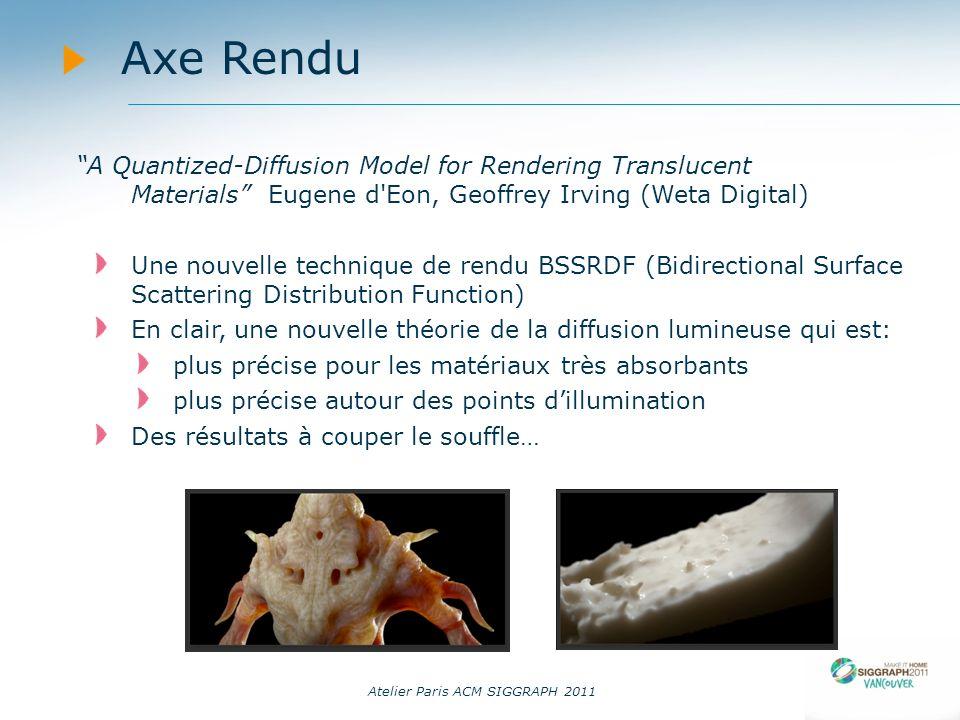 Atelier Paris ACM SIGGRAPH 2011 Axe Rendu A Quantized-Diffusion Model for Rendering Translucent Materials Eugene d'Eon, Geoffrey Irving (Weta Digital)