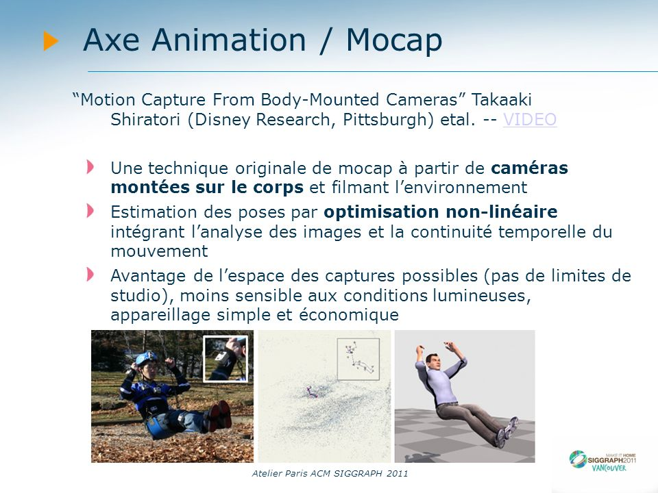 Atelier Paris ACM SIGGRAPH 2011 Axe Animation / Mocap Motion Capture From Body-Mounted Cameras Takaaki Shiratori (Disney Research, Pittsburgh) etal. -
