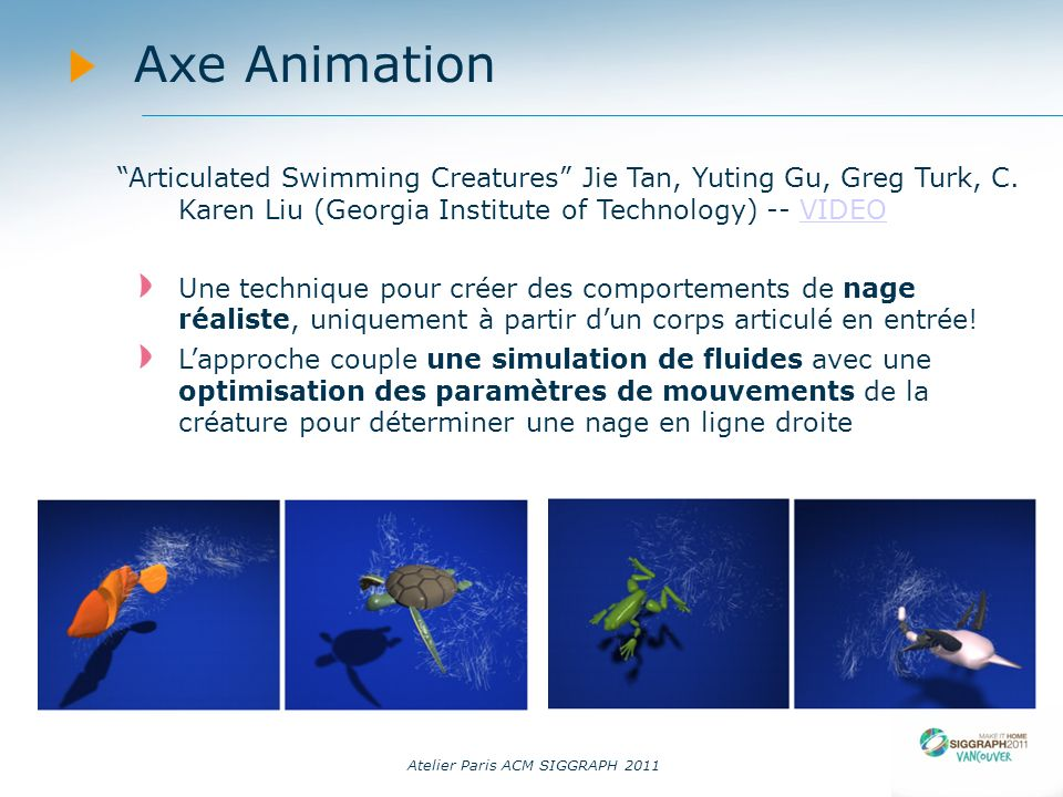 Atelier Paris ACM SIGGRAPH 2011 Axe Animation Articulated Swimming Creatures Jie Tan, Yuting Gu, Greg Turk, C.