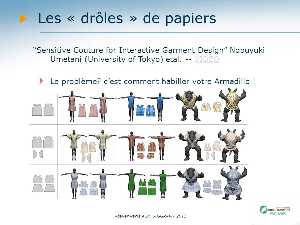 Atelier Paris ACM SIGGRAPH 2011 Les « drôles » de papiers Sensitive Couture for Interactive Garment Design Nobuyuki Umetani (University of Tokyo) etal.