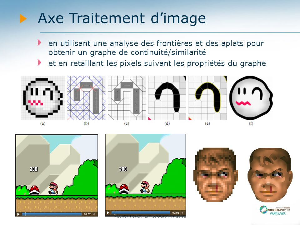 Atelier Paris ACM SIGGRAPH 2011 Axe Rendu A Programmable System for Artistic Volumetric Lighting Derek Nowrouzezahrai (Disney Research Zurich), Jared Johnson Andrew Selle, Dylan Lacewell, Michael Kaschalk (Walt Disney Animation Studios) and Wojciech Jarosz (Disney Research Zurich) -- VIDEOVIDEO Contrôle intuitif des effets lumineux volumétriques Principalement orienté vers les artistes (les artistes positionnent des rais de lumière et en contrôlent leur évolution) Repose sur de la simulation physique réaliste à laide de « photons beams » Les rais étant courbes la simulation nest pas physiquement réaliste