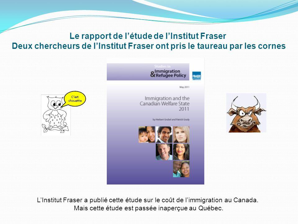 Le rapport de létude de lInstitut Fraser Deux chercheurs de lInstitut Fraser ont pris le taureau par les cornes LInstitut Fraser a publié cette étude