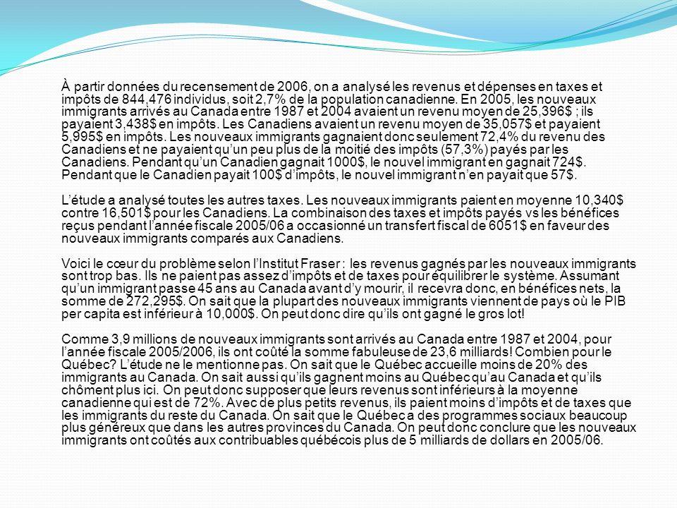 À partir données du recensement de 2006, on a analysé les revenus et dépenses en taxes et impôts de 844,476 individus, soit 2,7% de la population cana
