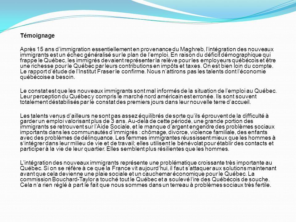 Témoignage Après 15 ans dimmigration essentiellement en provenance du Maghreb, lintégration des nouveaux immigrants est un échec généralisé sur le pla
