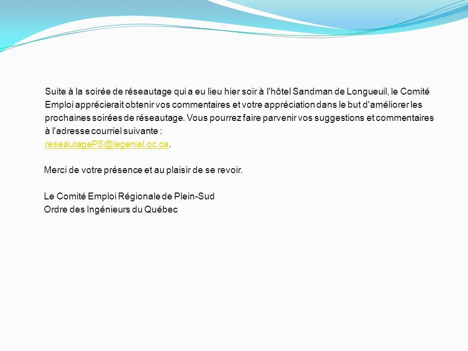 Suite à la soirée de réseautage qui a eu lieu hier soir à l'hôtel Sandman de Longueuil, le Comité Emploi apprécierait obtenir vos commentaires et votr