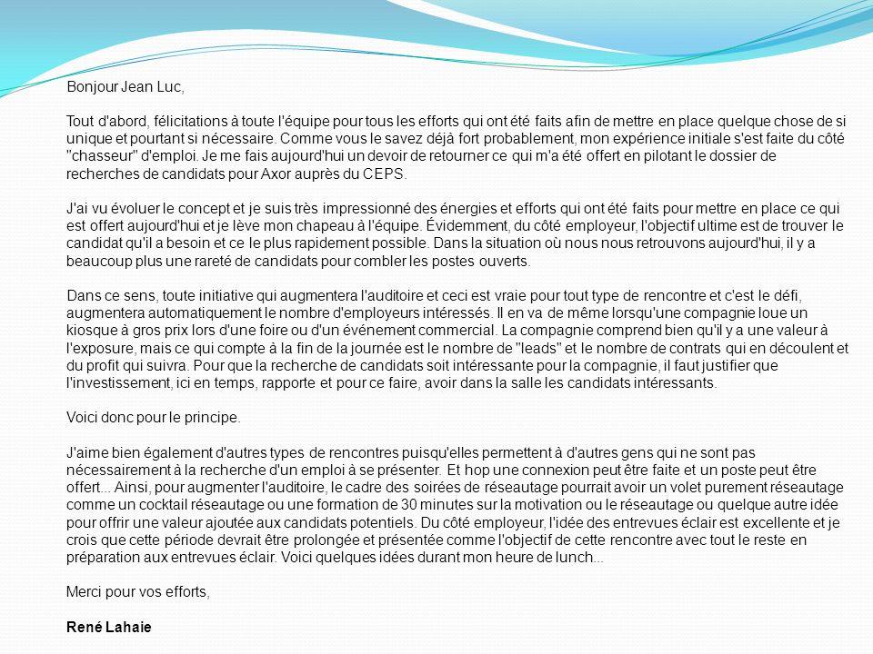Bonjour Jean Luc, Tout d'abord, félicitations à toute l'équipe pour tous les efforts qui ont été faits afin de mettre en place quelque chose de si uni