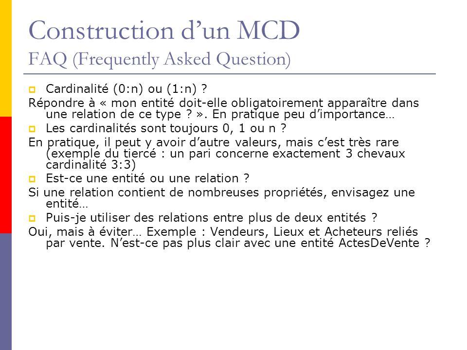 Construction dun MCD FAQ (Frequently Asked Question) Cardinalité (0:n) ou (1:n) ? Répondre à « mon entité doit-elle obligatoirement apparaître dans un