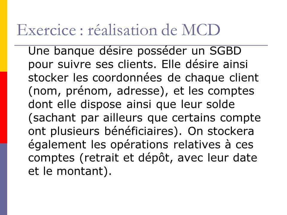 Exercice : réalisation de MCD Une banque désire posséder un SGBD pour suivre ses clients. Elle désire ainsi stocker les coordonnées de chaque client (