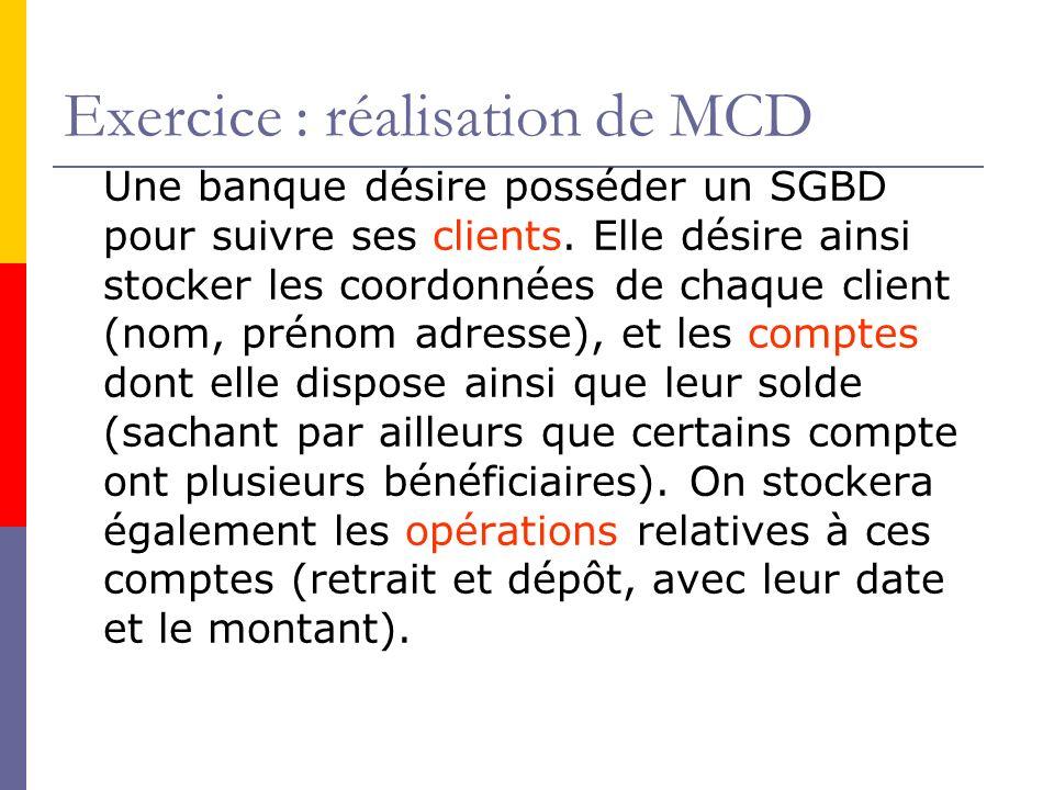 Exercice : réalisation de MCD Une banque désire posséder un SGBD pour suivre ses clients.