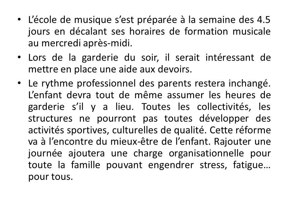 Lécole de musique sest préparée à la semaine des 4.5 jours en décalant ses horaires de formation musicale au mercredi après-midi. Lors de la garderie