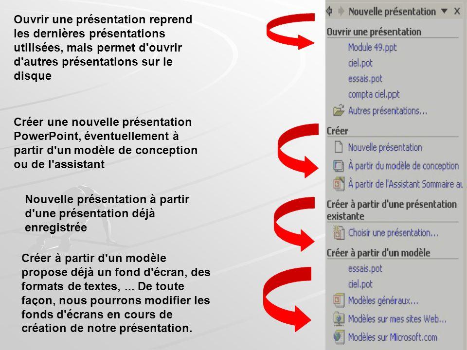 Créer une nouvelle fenêtre fichier nouveau Cliquer dans la barre doutils standars Des volets office s affiche a droite: accueil nouvelle presentation