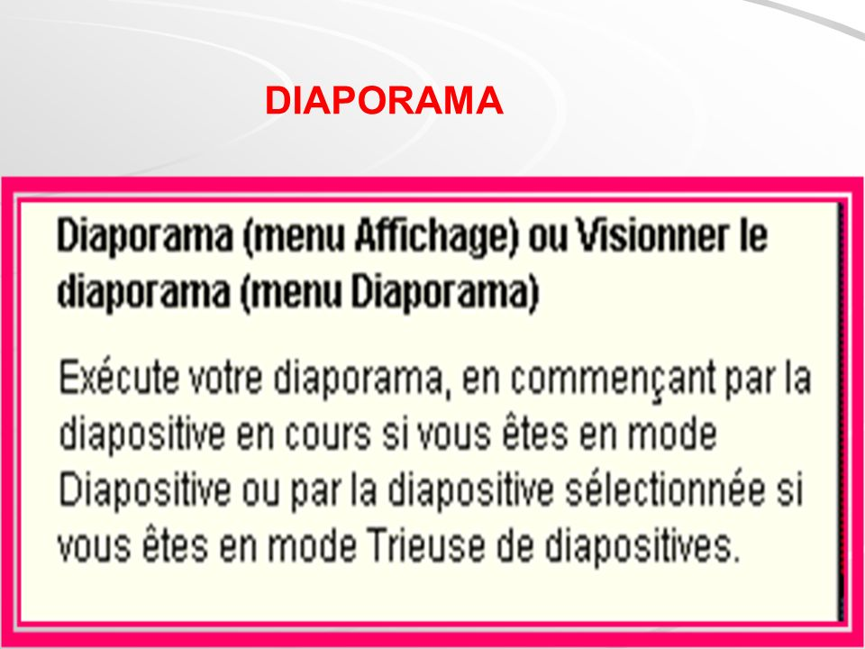 Différents types daffichage de diapositives