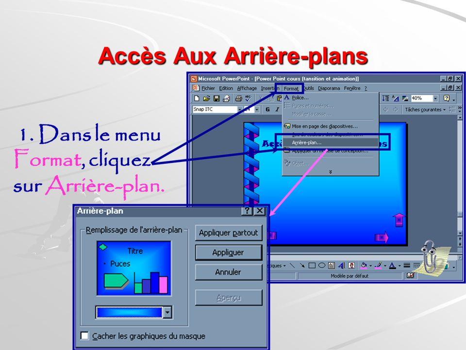 Les Arrières-plans Les arrière-Plans constituent un des éléments importants dans la présentation dun diaporama. Les arrière-plans peuvent se présenter