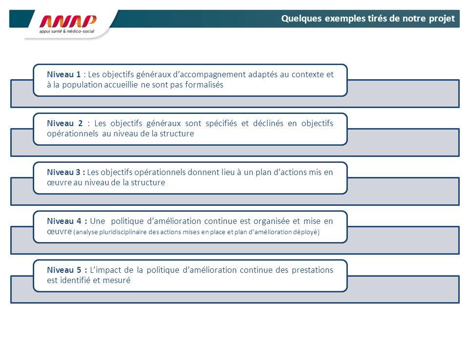 Niveau 1 : Les objectifs généraux daccompagnement adaptés au contexte et à la population accueillie ne sont pas formalisés Niveau 2 : Les objectifs gé