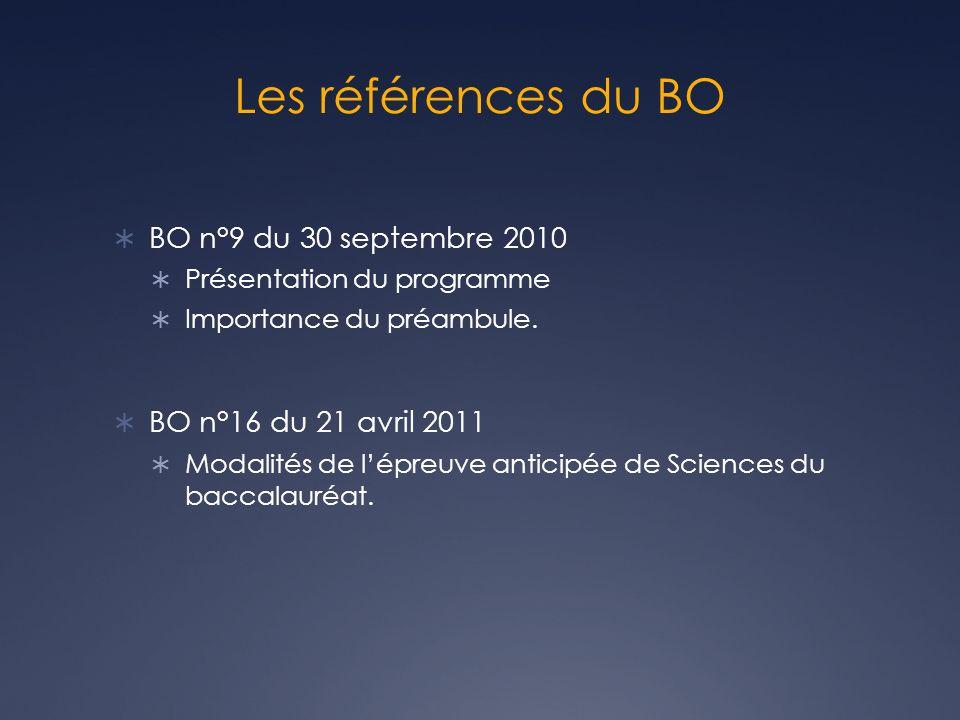 Les références du BO BO n°9 du 30 septembre 2010 Présentation du programme Importance du préambule. BO n°16 du 21 avril 2011 Modalités de lépreuve ant