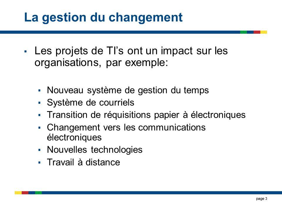 page 14 1.3 Évaluer la propension au changement 1.3.1 Déterminer la propension au changement: Culturelle, État du projet et Dispo de budgets; 1.3.2 Planifier à quelle étape, du projet, se fera lévaluation dinclination au changements; 1.3.3 Préparer lévaluation (parrain, facilitateurs, participants, messages, agenda, contenu,..); 1.3.4 Effectuer lévaluation et rédiger le rapport des constatations; 1.3.5 Faire une synthèse et préparer le rapport