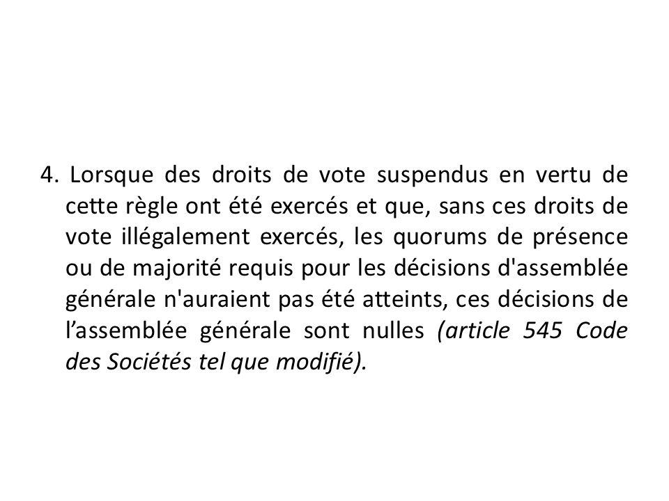 4. Lorsque des droits de vote suspendus en vertu de cette règle ont été exercés et que, sans ces droits de vote illégalement exercés, les quorums de p