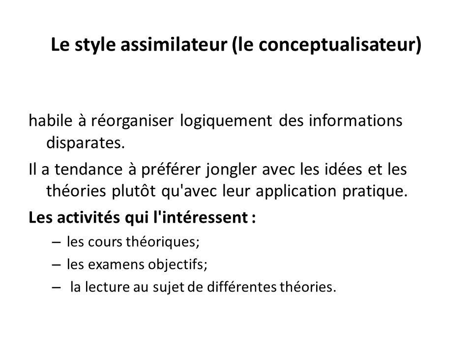 Le style assimilateur (le conceptualisateur) habile à réorganiser logiquement des informations disparates. Il a tendance à préférer jongler avec les i