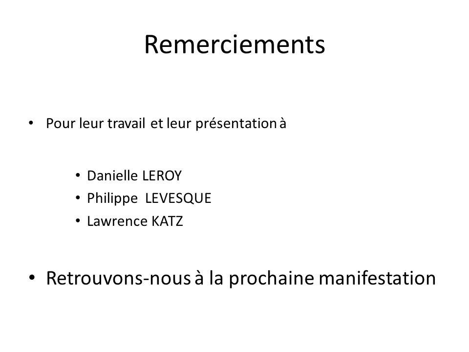 Remerciements Pour leur travail et leur présentation à Danielle LEROY Philippe LEVESQUE Lawrence KATZ Retrouvons-nous à la prochaine manifestation