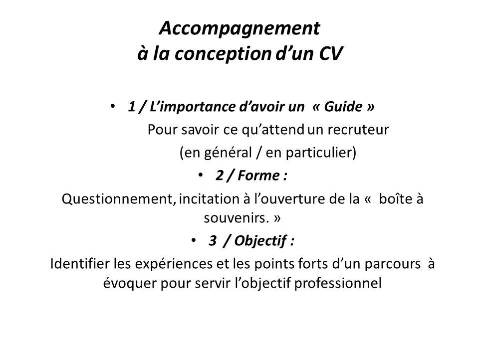 Accompagnement à la conception dun CV 1 / Limportance davoir un « Guide » Pour savoir ce quattend un recruteur (en général / en particulier) 2 / Forme