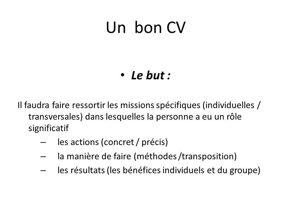 Un bon CV Le but : Il faudra faire ressortir les missions spécifiques (individuelles / transversales) dans lesquelles la personne a eu un rôle signifi