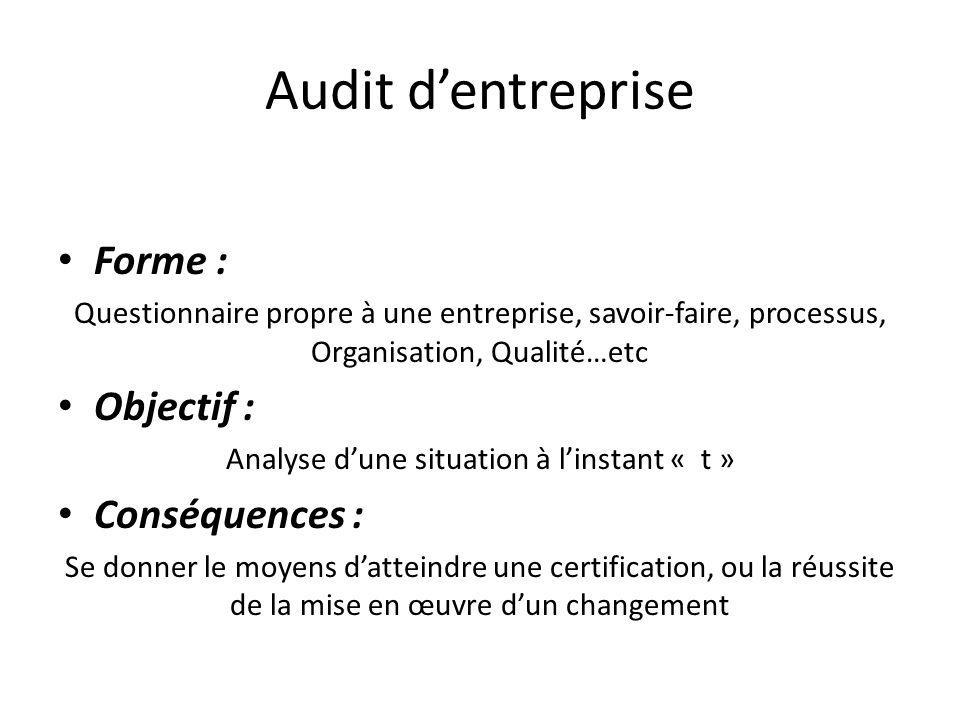 Audit dentreprise Forme : Questionnaire propre à une entreprise, savoir-faire, processus, Organisation, Qualité…etc Objectif : Analyse dune situation