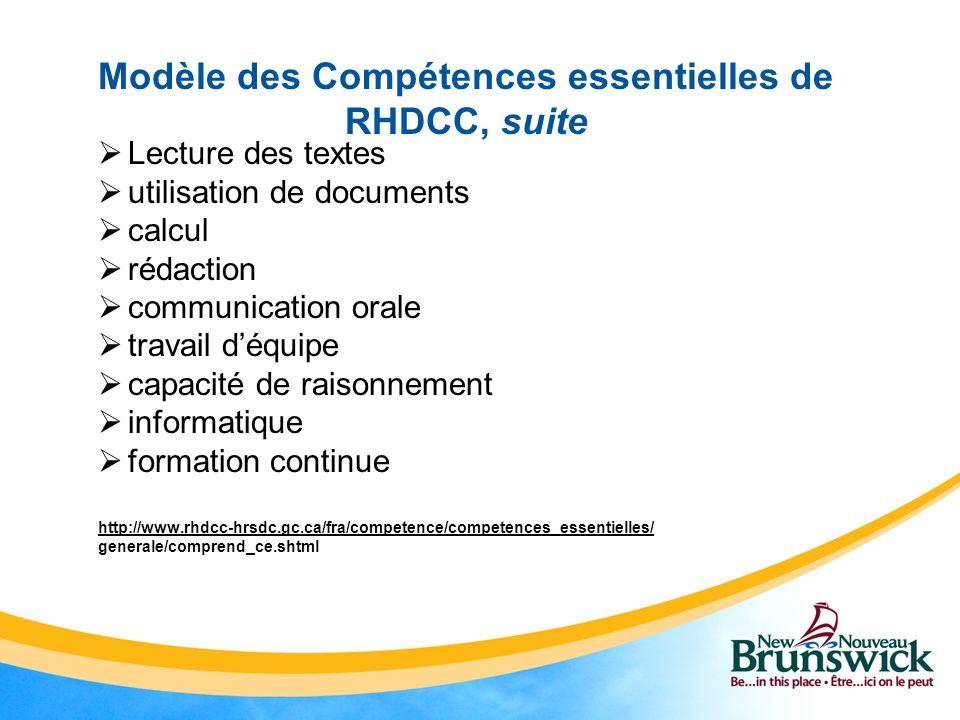 Modèle des Compétences essentielles de RHDCC, suite Lecture des textes utilisation de documents calcul rédaction communication orale travail déquipe c