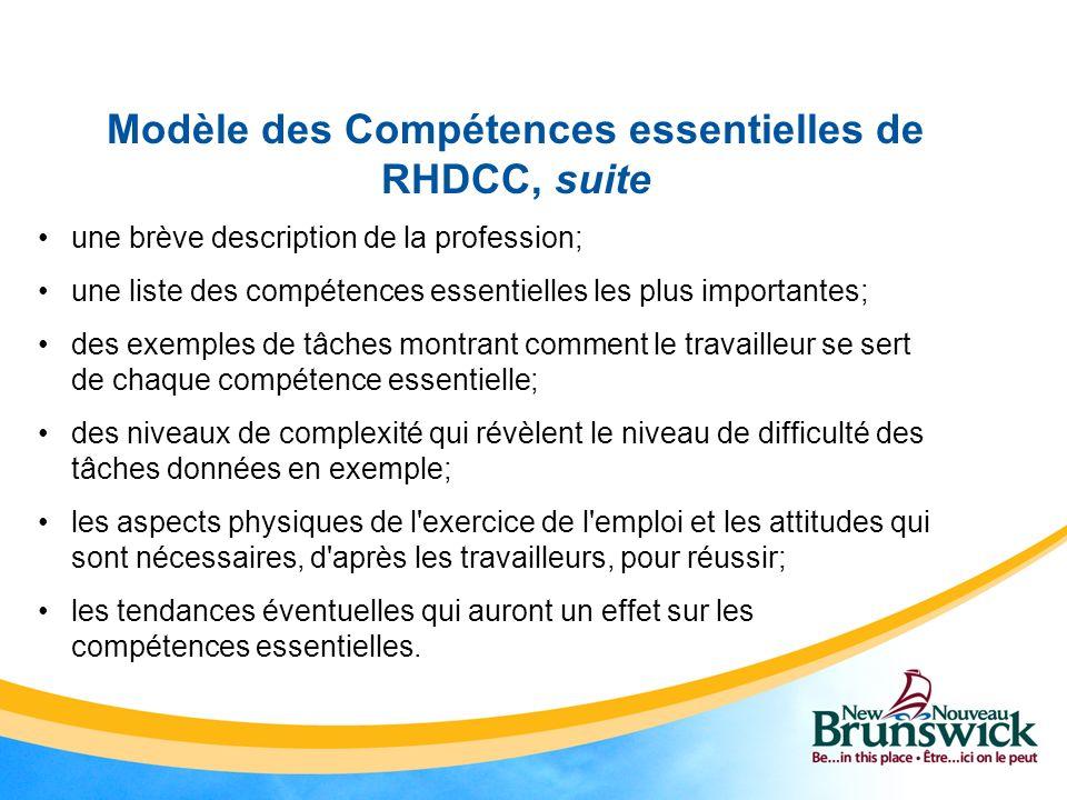 Modèle des Compétences essentielles de RHDCC, suite une brève description de la profession; une liste des compétences essentielles les plus importante