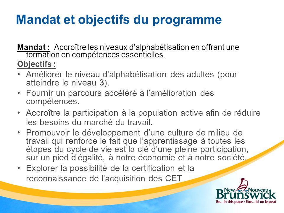 Mandat et objectifs du programme Mandat : Accroître les niveaux dalphabétisation en offrant une formation en compétences essentielles. Objectifs : Amé
