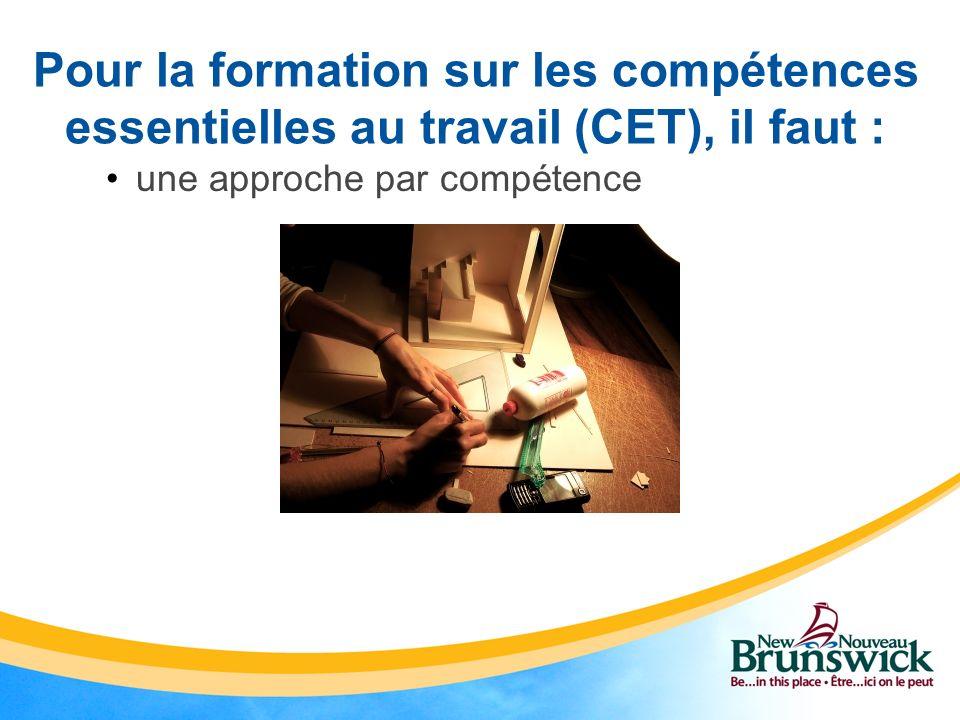 Démonstration du système Ressources CETNB Base de données provinciale de la formation CET/matériaux d apprentissage