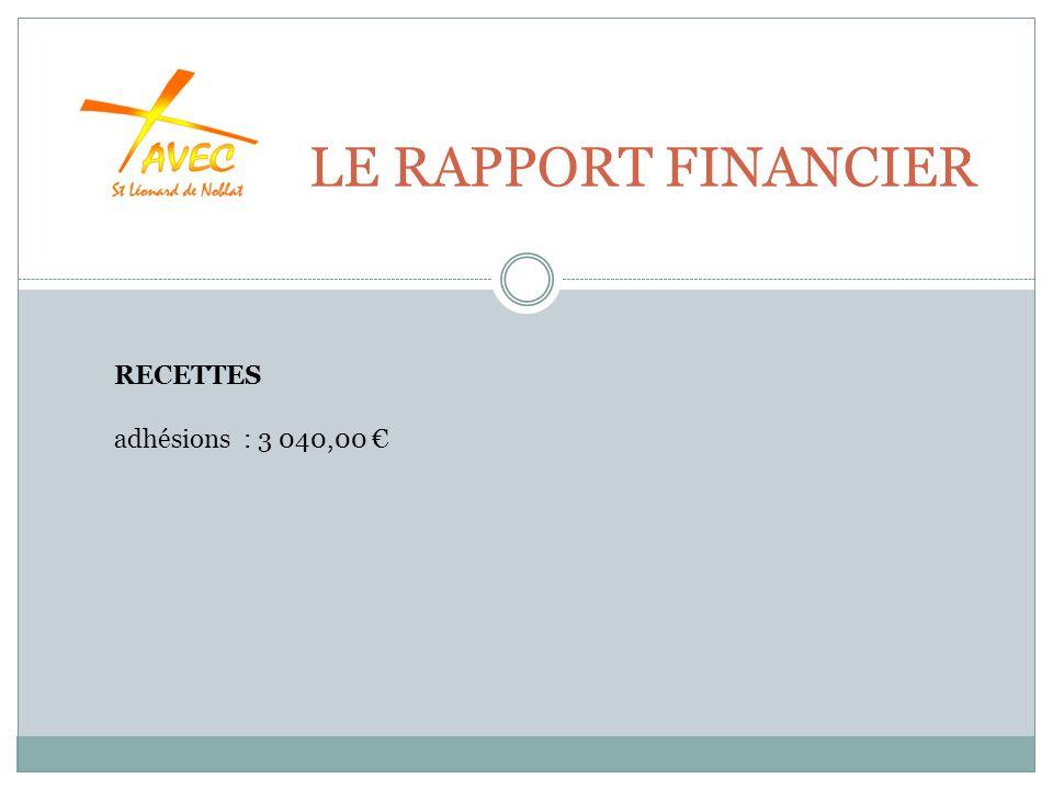 LE RAPPORT FINANCIER RECETTES adhésions : 3 040,00