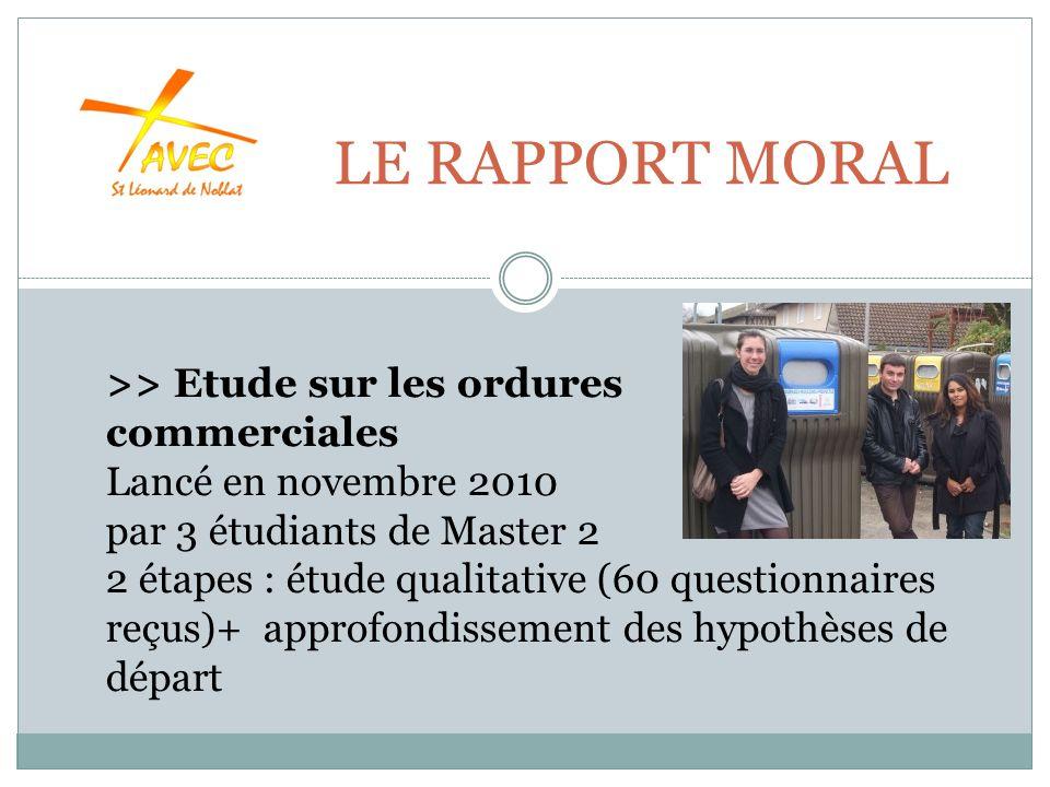 LE RAPPORT MORAL >> Etude sur les ordures commerciales Lancé en novembre 2010 par 3 étudiants de Master 2 2 étapes : étude qualitative (60 questionnaires reçus)+ approfondissement des hypothèses de départ