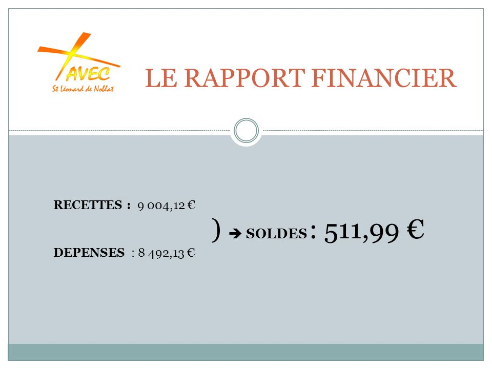 LE RAPPORT FINANCIER RECETTES : 9 004,12 ) SOLDES : 511,99 DEPENSES : 8 492,13