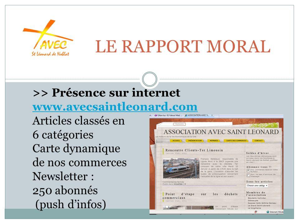 LE RAPPORT MORAL >> Présence sur internet www.avecsaintleonard.com Articles classés en www.avecsaintleonard.com 6 catégories Carte dynamique de nos commerces Newsletter : 250 abonnés (push dinfos)