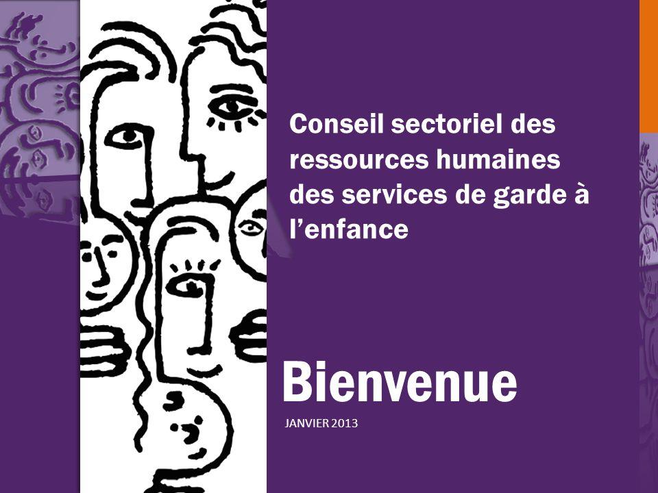 Bienvenue JANVIER 2013 Conseil sectoriel des ressources humaines des services de garde à lenfance