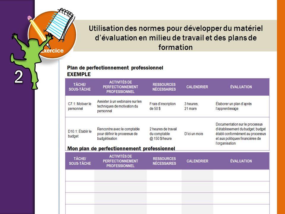 COMPARAISON ET RÉFLEXION Exercice Utilisation des normes pour développer du matériel dévaluation en milieu de travail et des plans de formation Passez
