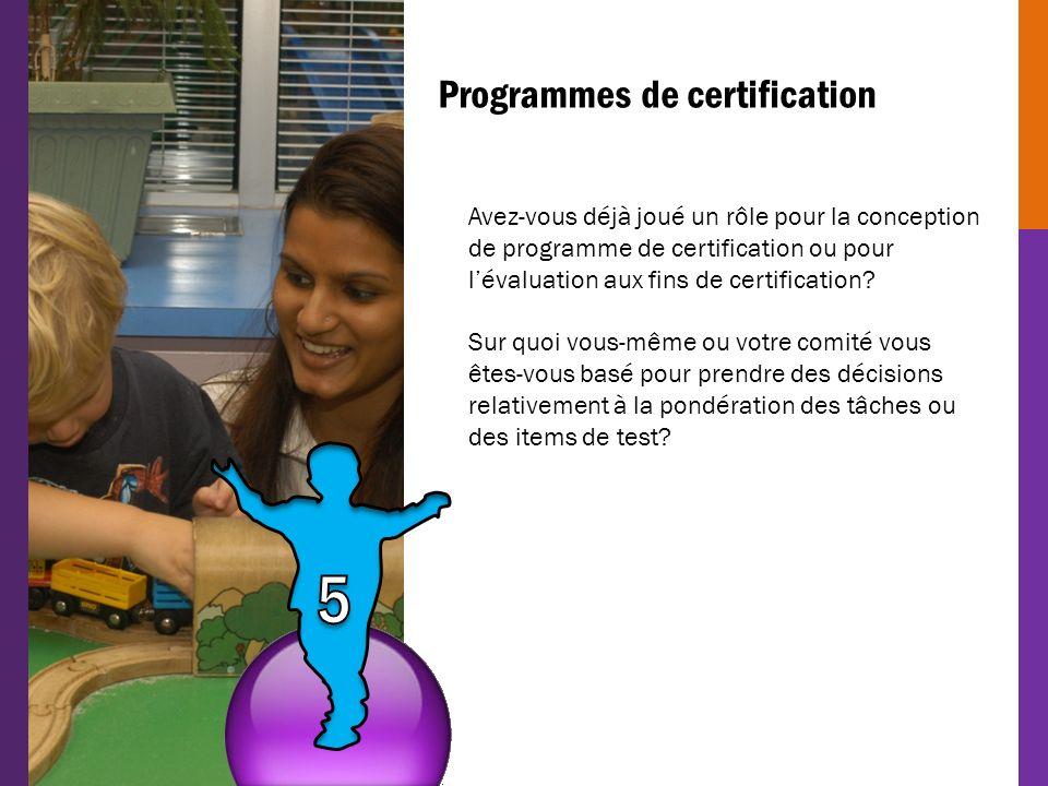 Programmes de certification Avez-vous déjà joué un rôle pour la conception de programme de certification ou pour lévaluation aux fins de certification