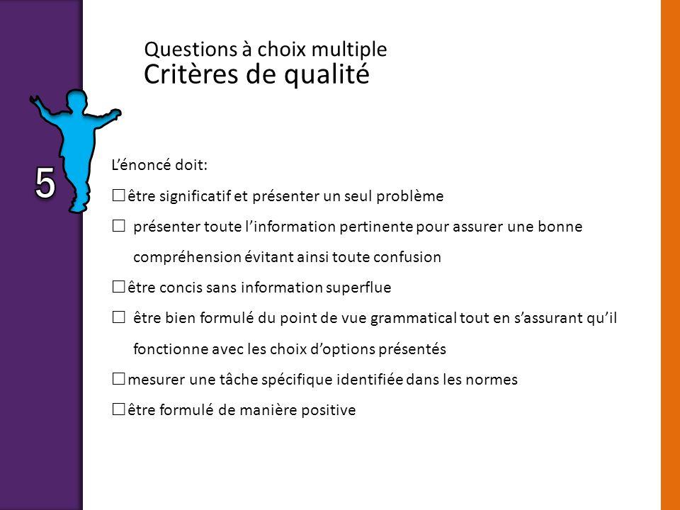 Critères de qualité Questions à choix multiple Lénoncé doit: être significatif et présenter un seul problème présenter toute linformation pertinente p