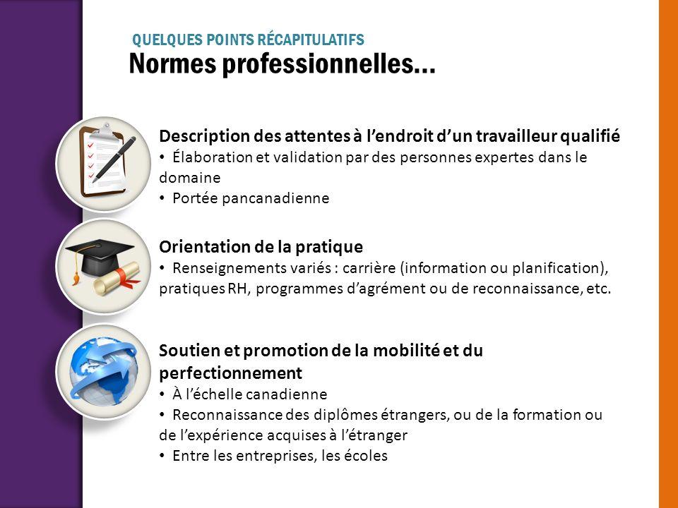 Normes professionnelles... Description des attentes à lendroit dun travailleur qualifié Élaboration et validation par des personnes expertes dans le d