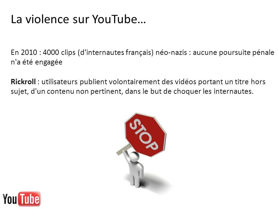 En 2010 : 4000 clips (d'internautes français) néo-nazis : aucune poursuite pénale n'a été engagée Rickroll : utilisateurs publient volontairement des