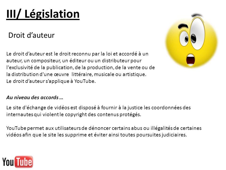 III/ Législation Le site d'échange de vidéos est disposé à fournir à la justice les coordonnées des internautes qui violent le copyright des contenus