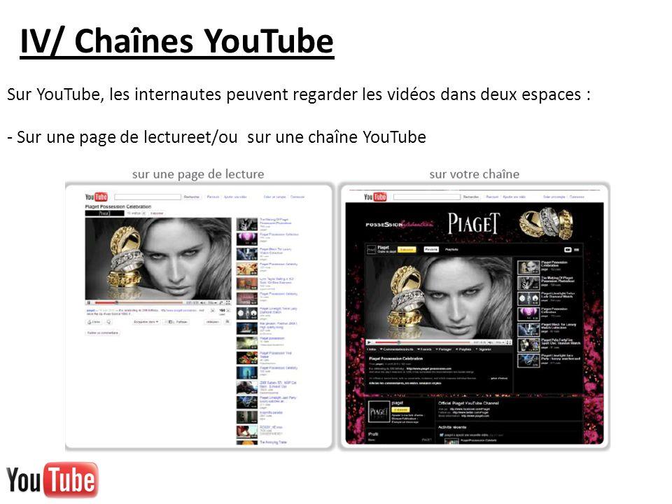 IV/ Chaînes YouTube Sur YouTube, les internautes peuvent regarder les vidéos dans deux espaces : - Sur une page de lectureet/ou sur une chaîne YouTube