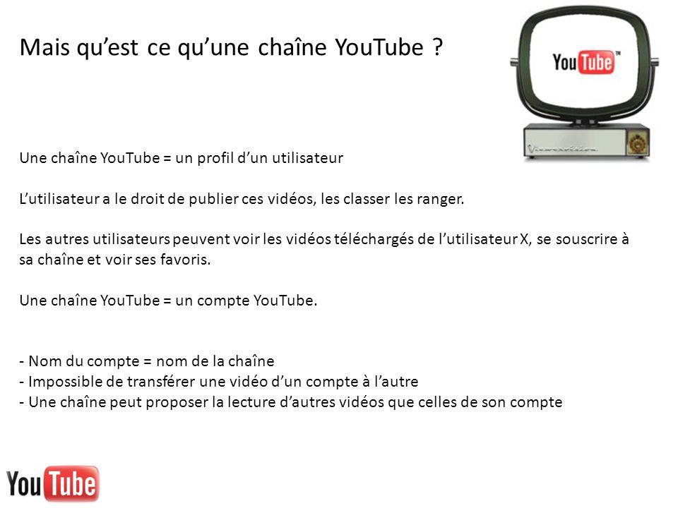 Mais quest ce quune chaîne YouTube ? Une chaîne YouTube = un profil dun utilisateur Lutilisateur a le droit de publier ces vidéos, les classer les ran