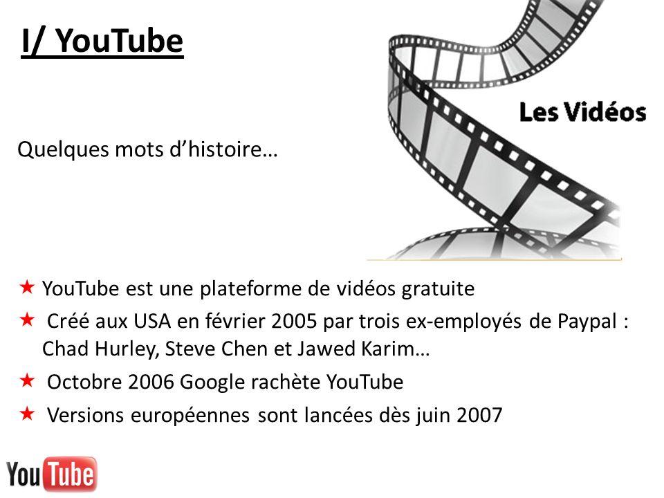 I/ YouTube YouTube est une plateforme de vidéos gratuite Créé aux USA en février 2005 par trois ex-employés de Paypal : Chad Hurley, Steve Chen et Jaw